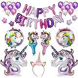 HEAWAA Einhorn Geburtstagsparty Dekorationen Lieferungen, Alles Gute zum Geburtstag Banner,Herzförmige Folienballons Geschenk für Mädchen Frauen Kinder,38pcs Party Pack
