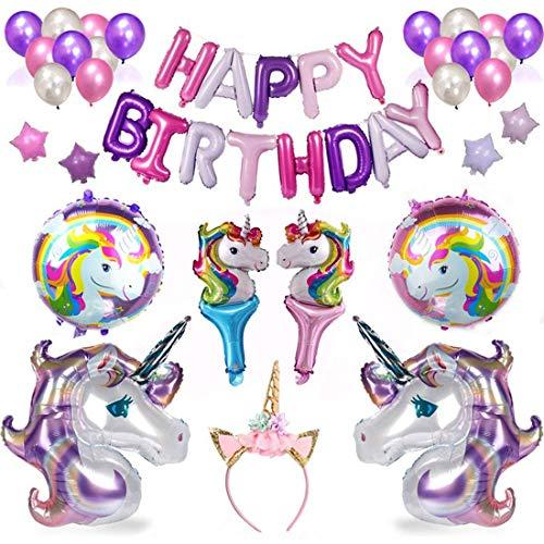 (HEAWAA Einhorn Geburtstagsparty Dekorationen Lieferungen, Alles Gute zum Geburtstag Banner,Herzförmige Folienballons Geschenk für Mädchen Frauen Kinder,38pcs Party Pack)