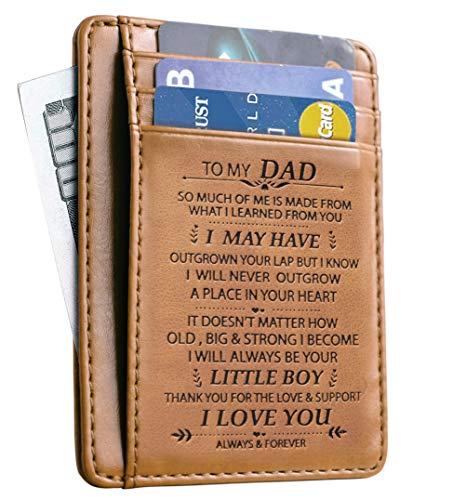 Gift for Dad Geldbörse aus Rindsleder, minimalistisch, RFID-Vordertasche - schwarz -