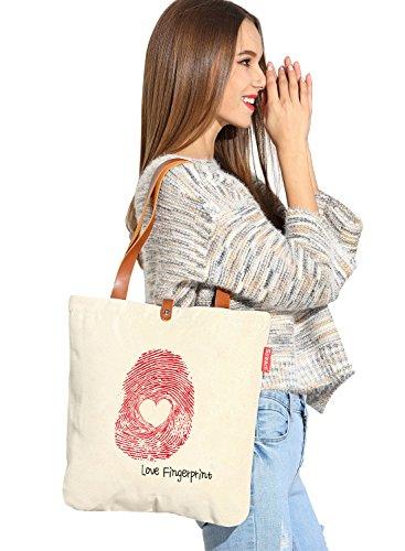 So 'each da donna Love Fingerprint Graphic Tela Borsa Shopper Shopping Bag