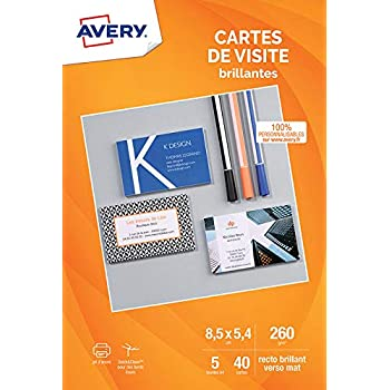 Avery 40 Cartes De Visite A Bords Lisses