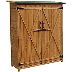 Armario de jardín 2puertas 1400x 500x 1620mm, madera de abeto, maciza, tejado de alquitrán