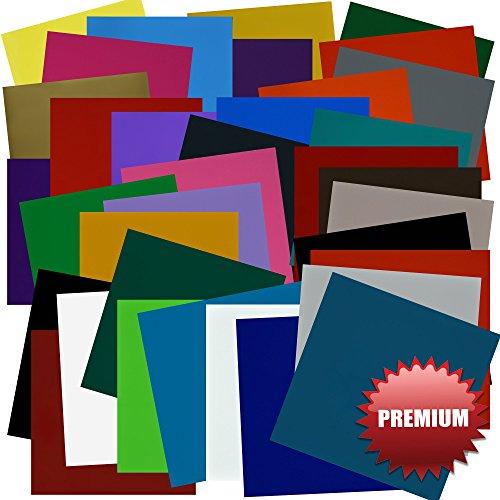 Preisvergleich Produktbild VINYL SELBSTKLEBEFOLIE 30.5 cm x 30.5 cm BÖGEN - 35er Packung- VIELE FARBEN - Perfekt geeignet für CRICUT, SILHOUETTE CAMEO, Stanzmaschinen, Folienschneider, Buchstaben, Wände, Aufkleber und DIY Dekoprojekte! BESTE FARBLICHE SORTIERUNG