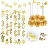Gold stelle Ghirlande 25Feet & Pom Poms di carta velina (6pcs), Konsait frizzante Oro Star Striscioni e appesi pompon fiori per Natale, matrimonio, festa di compleanno appeso decorazioni