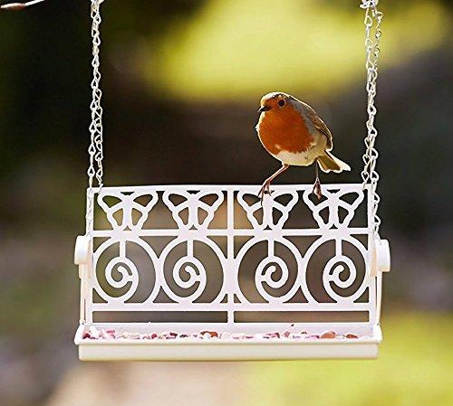 Garden Mile weiß Französisch Shabby Chic Garten Bank Schaukelsitz Futterstelle für Vögel Deko Vogel Futterstation Samen Mutter rindernierenfett Zubringer für Station für Verzierungen Rustik Wandbehang - Samen Die Für Vögel
