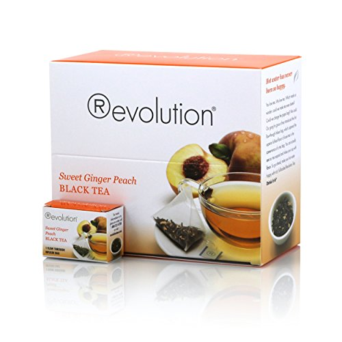 Revolution Sweet Ginger Peach Tea - Whole Leaf Black Tea - 30 Individually Boxed Pyramid Tea Bags