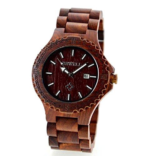 BEWELL uomo orologio automatico data Eco in legno naturale fatta a mano,Orologio in legno (stile A rosso)
