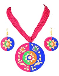 Nisuj Fashion's Terracotta Jewelry Sets For Women|Pink & Blue|Traditional Sets|Latest Design|Low Price