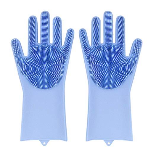 R-Cors Silikon-Wäscher-Gummi-Geschirrreinigungshandschuhbürste hitzebeständig Männer Frau Batterie beheizte Handschuhe mit Ohrenschützern Ohrenwärmer - Wasserdichte isolierte Heizung (Blue) - Wäscher-batterie
