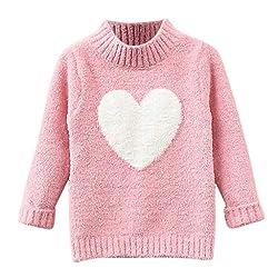 Livoral Kinder Baby Mädchen Langarm Pullover Liebe Herz Muster Strickoberteile Kleidung(Rosa,7-8 Jahre)