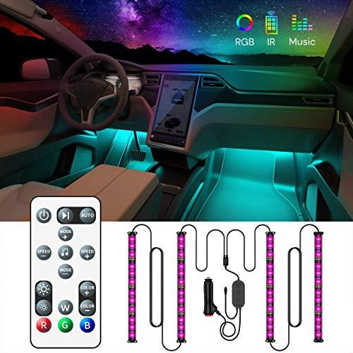 LED Innenbeleuchtung Auto, Govee Auto LED Strip Beleuchtung mit Zwei-Linien-Design, Wasserdicht Auto Innenraumbeleuchtung 48 LEDs Streifen mit Fernbedienung, Syn mit Musik Lichtband 32 Farben, 12V -