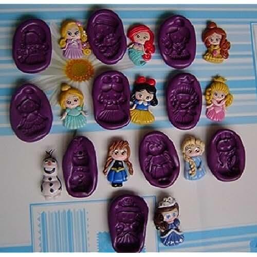 figuras kawaii porcelana fria Lote de 10 Moldes de Silicona Princesas Ariel, Rapunzel, Blanca Nieves, Bella, Cenicienta, Aurora Fimo, porcelana fria, fondant