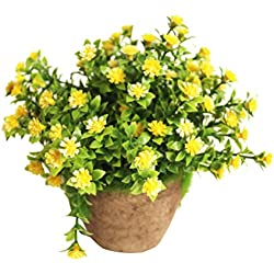 WINOMO Planta Artificial Potted Falsa Planta decorativa Bonsai Lifelike Flor (Amarillo)