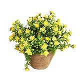 WINOMO Künstliche Pflanzen Simulierte Pflanze Dekorative Bonsai Plastik Blume für Zuhause Dekoration (Gelb)