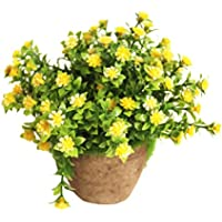 WINOMO Planta Artificial Potted Falsa Planta decorativa Bonsai Lifelike Flor (Amarillo)
