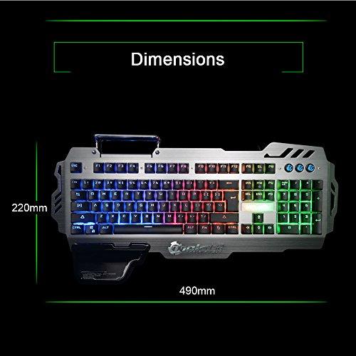 Normia Rita 104 klicken Mechanische Spiel Tastatur, Hintergrundbeleuchtung RGB LED Gaming-Tastatur, Beleuchtete Mechanical Keyboard mit Handy Halter - Aluminum Metall GunMetal Grau - 6