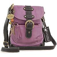 Catwalk Collection Leather Messenger Bag - Jodie - Mauve/Black