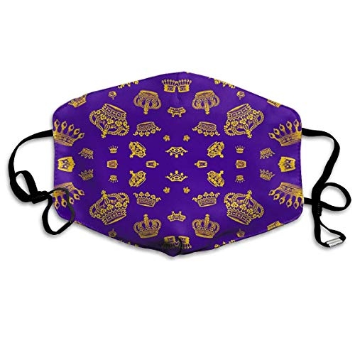 Royal Crowns - Gold On Purple Fashion Reusable Cotton Face Dust Mouth Mask,Washable Outdoor Sports Face Masks with PM2.5 Carbon Filter Masks for Pollen,Flying,Allergies,Smoke, - Pollen, Gelee Royal
