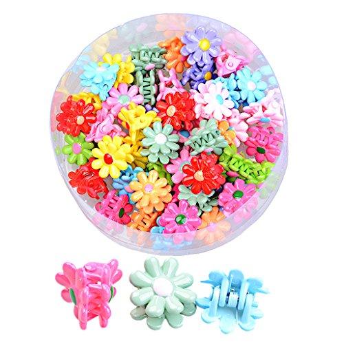 Baosity 48x Bunt haarklammern für Mädchen Niedlich Haarspangen Haarklammer beiläufig Haarschmuck -verschiedene Formen - Mehrfarbig - Blumen
