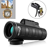 Monocular Telescope 40X60 HD Optical Monocular Bird Watching Dual Focus Night Vision Spotting Scope Waterproof and Fog-proof Monoculars Side Hand Strap for Traveling Hunting Sports Watching