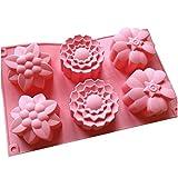 NiceButy 6 Cavité en 1 Moules En Silicone Plat à Four En Silicone Demi-Sphères, Antidérapant Très Résistant, Gâteau De Cuisson, Chocolat Bonbon Gâteau Pâtisserie en Forme Fleur