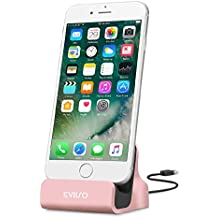 iPhone Base dock de carga,EVIISO Lightning Carga y Sincronización Dock para iPhone Cargador Dock Soporte con Cable de Conector Lightning para iPhone 7/7Plus, 6/6S/6, Plus/5/5 C/5S (Oro rosa)