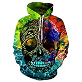 3D Sweatshirts Skull Print Bunte Pullover Blumen mit Kapuze Hoodies Männer Sweatshirts Hip Hop Tops WEIYI-216 L