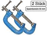 2 Stück C-Schraubzwinge 50 mm leichte Bauart mit Stahl-Gewinde verchromt