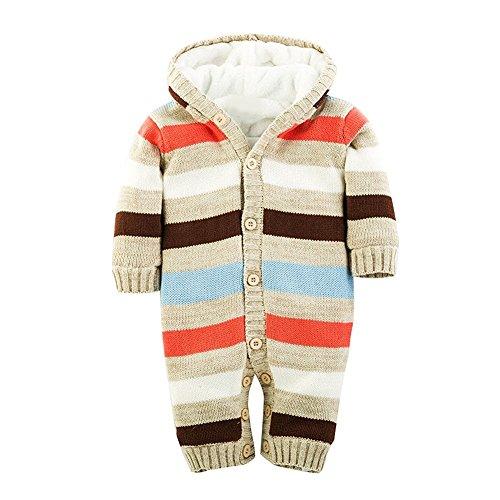 Minetom Bebé Niños Niñas Otoño Invierno De Punto Suéter Patrón De Rayas Rompers Con Sudadera Con Capucha Beige