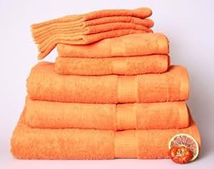 12 tlg. Handtuchset in ORANGE, 4 Handtücher 50x100cm / 2 Duschtücher 70x140cm / 2 Badetuch 100x150cm / 4 Gästetücher 30x50cm 100% Baumwolle 500g/m²