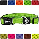 DDOXX Hundehalsband Air Mesh | für große & kleine Hunde | Katzenhalsband | Halsband | Halsbänder | Hundehalsbänder | Hund Katze Katzen Welpe Welpen | klein breit Leuchtend bunt | Grün, XS