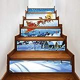 LHWY Weihnachtsaufkleber Deko Weihnachten 3D Simulation Treppe Aufkleber Wasserdichte Wandaufkleber DIY Home Decor (A, 18x100cm/6pcs)