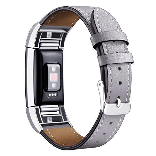 """Mornex für Charge 2 Armband, Echte Leder Armbänder, Unisex Ersatzband mit Metall Konnektoren(5,5""""-8,1""""), Grau"""