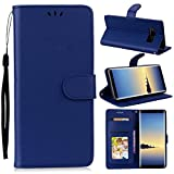 Casefirst Samsung Galaxy Note 8 2017 Case, Design Back Shell Bumper Flip Cover-Dark Blue