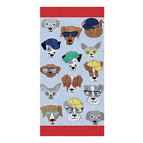 Langde Weich Strandtuch 100% Baumwolle, 160x80 cm, Hund mit Brille Tiere Motiv Strand Badetuch Saugfähig für Kinder & Erwachsene Yoga Reise