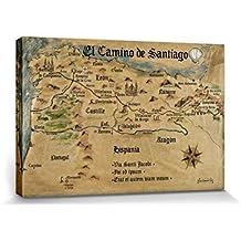 Camino De Santiago De Compostela - El Camino De Santiago Anno 1445, Jon Mellenthin Cuadro, Lienzo Montado Sobre Bastidor (120 x 80cm)
