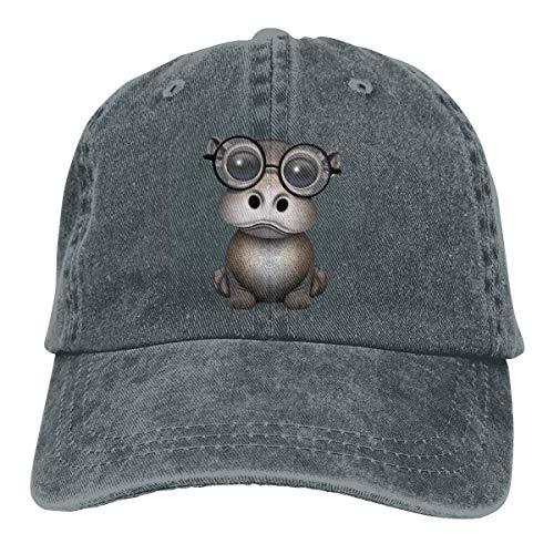 Nerdy Baby Hippo Wearing Glasses On Blue Unisex Washed Adjustable Vintage Cowboy Hat Denim Baseball Caps Design25