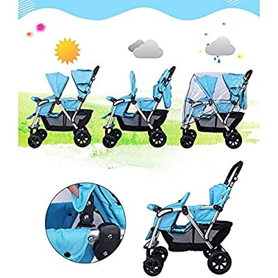 XYL Silla de Paseo Plegable Doble para niño/bebé con una combinación de Canasta de Almacenamiento Grande Arnés de Cinco Puntos Tragaluz Grande Cochecito cómodo,Rojo