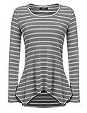 Zeagoo Damen Rundhals Gestreift Stretch Basic T-Shirt Oberteile Langarmshirt Loose Bluse Grau XL