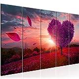 Bilder Herbst Baum Herz Wandbild 150 x 60 cm Vlies - Leinwand Bild XXL Format Wandbilder Wohnzimmer Wohnung Deko Kunstdrucke Violett 5 Teilig - MADE IN GERMANY - Fertig zum Aufhängen 605856b