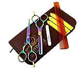 CANDURE® Professionell Haarscheren Set Mikroverzahnt Effilierschere Modellierschere Friseur Scheren Set, friseurscheren - Haarschneideschere - Friseurschere set - 5,5'' (13,97cm), Schwarz Set