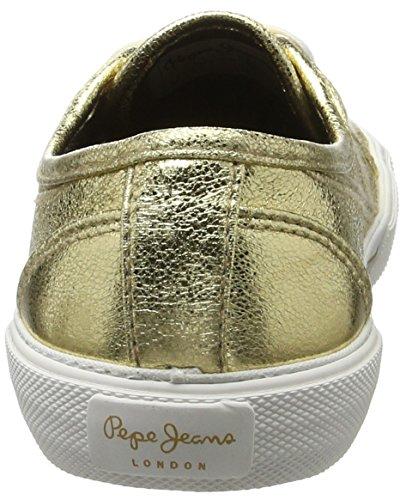 Pepe Jeans London Aberlady Met, Scarpe da Ginnastica Basse Donna Oro (Gold)