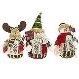 Tenrany Home Peluche Natale Bambola Decorazioni, 3Pcs Babbo Natale Pupazzo di Neve Renna Ragdoll Christmas Ciondolo Appeso Bambola per Albero di Natale Natale Feste Decorazione (Medium)