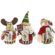Tenrany Home Felpa Muñecas de Navidad Decoración, 3Pcs Papá Noel Muñeco de Nieve Ciervo Colgantes
