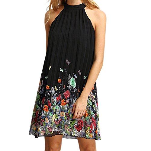 West See Damen Kleid Sommer Casual Elegant Floral Sleeveless Hohe Kragen A-Linie Lose Minikleid Strand Party Ball Schwarz
