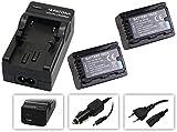 4in1-SET für die Panasonic HC-V777EG und HC-V380EG Camcorder --- 2 PREMIUM Akkus für VBT190 (2020mAh) + 4in1 Ladegerät (u.a. mit USB / micro-USB und Kfz/Auto) inkl. PATONA Displaypad