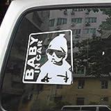 Tuqiang® Baby in Car Warnzeichen Autoaufkleber Aufkleber Sticker Silber glänzend für Auto KFZ Fenster