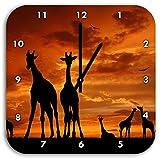 Afrika Giraffen im Sonnenuntergang, Wanduhr Quadratisch Durchmesser 28cm mit schwarzen spitzen Zeigern und Ziffernblatt, Dekoartikel, Designuhr, Aluverbund sehr schön für Wohnzimmer, Kinderzimmer, Arbeitszimmer