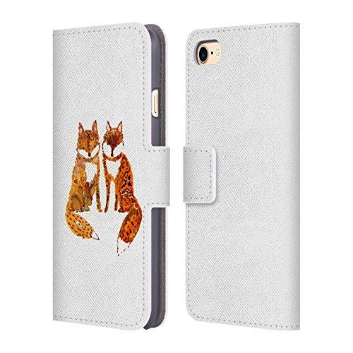 Ufficiale Wyanne La Mucca Sulla Luna Animali 2 Cover a portafoglio in pelle per Apple iPhone 5 / 5s / SE Le Due Piccole Volpi