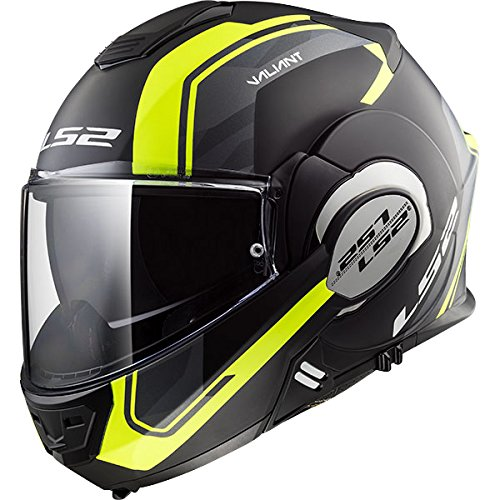 LS2 ff399Valiant–Caschi moto Casco Nero Opaco Hi Vis giallo
